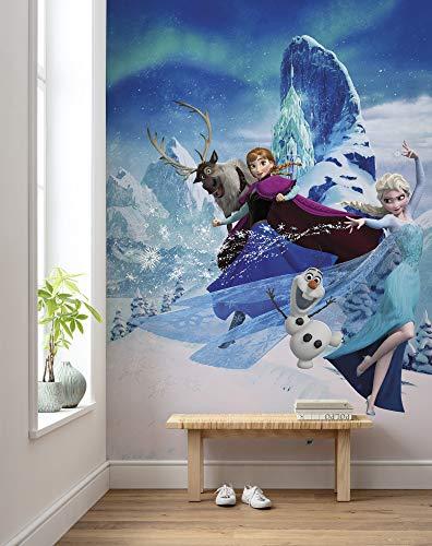 Komar Disney Vlies Fototapete Frozen Elsas Magic | Größe: 200 x 280 cm (Breite x Höhe), Bahnbreite 50 cm | Tapete, Wandbild, Dekoration, Wandbelag, Kinderzimmer, Schlafzimmer | DX4-014, blau