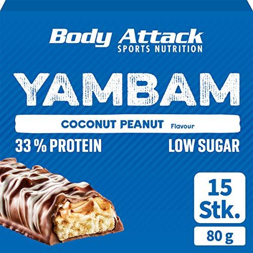 Body Attack YAMBAM, Proteinriegel Mix mit 33% Eiweiß, Fitness-Riegel ohne Zuckerzusatz und ohne Aspartam (Coconut Peanut, 15 x 80g)