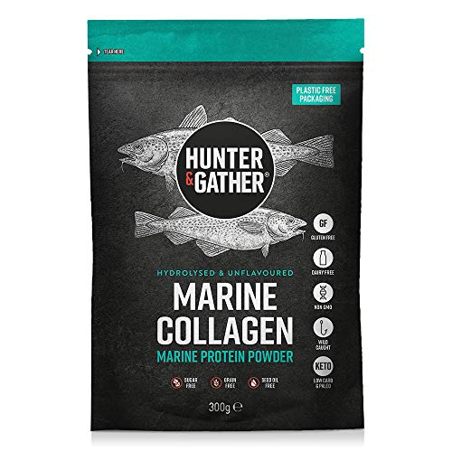 Collagen Powder - Pure Unflavoured Premium Hydrolysed Marine Collagen Peptides Powder for Hair Skin Nails Muscles (Plastic Free Packaging) - 300g