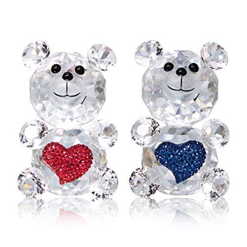 H&D 2PCS Cut Crystal Bear Animal Figurine Collection Glass Table Ornament (Red Blue)