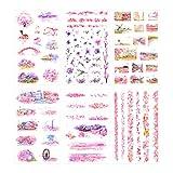 YMSD Romántico flor de cerezo decoración pegatinas pétalos rosa montaje Fuji y viento DIY creativo estudiante cuaderno 6 piezas