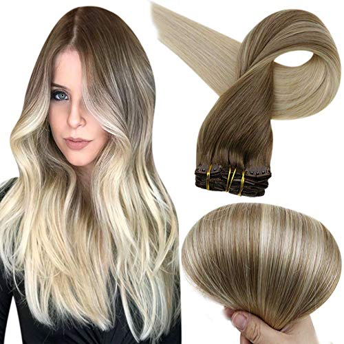 Full Shine Real Hair Clip Extensions 20 Inch 120 Gram Remy Balayage Clip In Hair Extensions Brown Color 8 Fading to Color 60 Platinum Blonde Balayage Human Hair Extensions Clip Ins 10 Pcs