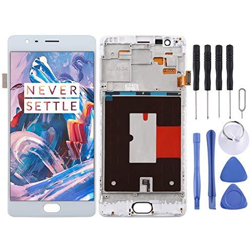 Reparatie onderdelen TFT Materiaal LCD-scherm en Digitizer Volledige Vergadering met Frame for OnePlus 3 / 3T A3000 A3010 (zwart) (Color : White)