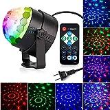 NARUJUBU Party Light - LED luz del disco bola del disco de sonido activado por luz con mando a distancia 7 colores mágicos de la bola de luz DJ Luces de la etapa Luz cristalino giratorio espectáculo f