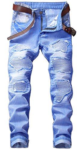YTD Mens Distressed Ripped Biker Slim Jeans Stretched Moto Denim Pants (W40(Tag 42), Sky Blue)