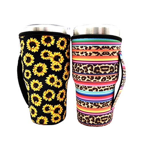 Reusable Iced Coffee Cup Sleeve Neoprene Insulated Sleeves Cup Cover Holder Idea for 30oz-32oz Tumbler Cup,Trenta Starbucks (Only Cup Sleeves) (Sunflower+ Rainbow-Leopard(2 Pack))