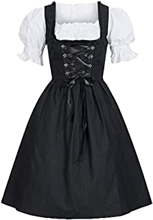 Wintialy Women's Oktoberfest Costume Bavarian Beer Girl Drindl Tavern Maid Dress