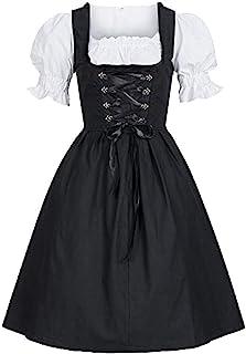SALUCIA Festliches Kleider SALUCIA Damen Mini Dirndl mit Miederhaken schwarz Trachtenkleid Patchwork Oktoberfest Kostüm ohne Unabhängig Bluse und Schürze für Festlich Party