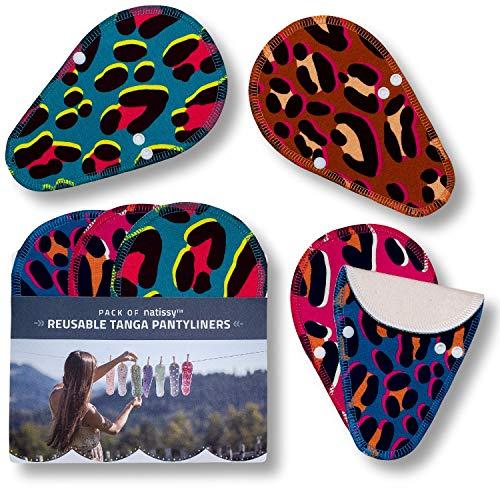 Salvaslips de tela reutilizables TANGA, 7-Pack Protege Slips de algodón ORGÁNICO con alas HECHAS EN LA UE, Compresas sin PUL, Toallas Sanitarias para el uso diario y flujo blanco, NO para menstruación