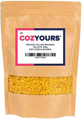 Cozyours Cera de Abeja Amarilla en Perlas/Pellets (453 g.), Natural, Orgánica, Pura, para Manualidades y Cosméticos
