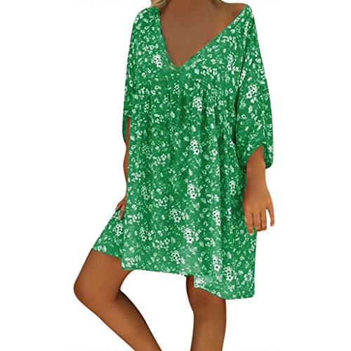 Auifor Strandjurk voor dames, casual, katoen, casual, met A-lijn, knielang, zonder accessoires, strand, elegante zomerjurk