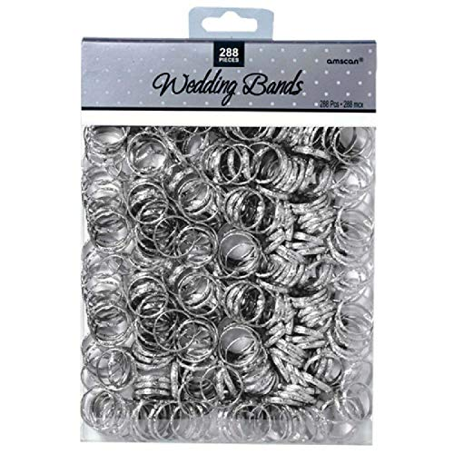 "Contemporary Bands - Wedding Party Novelty Favors, 288 Pieces, Made from Paper, Silver, 3/4"" by Amscan"