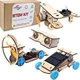 CYOEST DIY Wooden Science Experiment Model Kit Solar Power Car,Electric Motor Biplane Glider,Toy Binoculars and Wind Power Car,STEM Educational Building Project for Kids Boys & Girls,4 in 1 Set