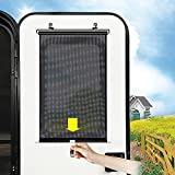 Upgraded Auto Retractable RV Window Roller, Camper Entry Door Window Cover Roller, Sunlight Blocker and Cool Temperature Keeper 26x14 inch, Keeping Inside Privacy, No Cutting or Drilling, Black