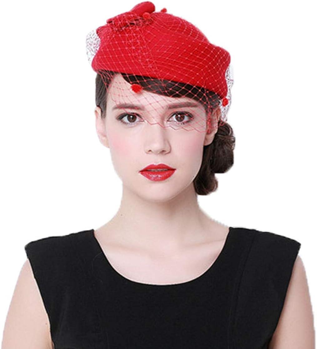 BAIMORE Fascinator Wool Felt Vintage Pillbox Hat Vintage Wedding Hat with Veil