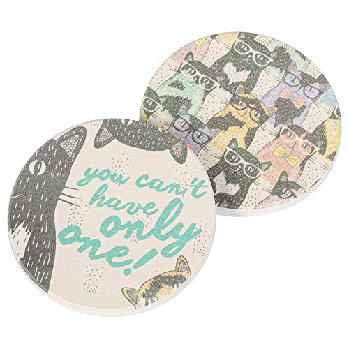 Cat Crazy, You Cant Only Have One 2.75 x 2.75 Absorbent Ceramic Car Coasters Pack of 2