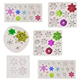 6 Pieces Snowflake Fondant Molds 3D Snowflake Silicone Molds Christmas Cake Decorations for Cupcake Chocolate Little Cookie Baking Polymer Clay Crafting Projects