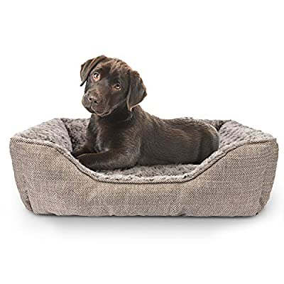 """FURTIME Durable Dog Bed for Large Medium Small Dogs Soft Washable Pet Bed Breathable Rectangle Sleeping Bed Anti-Slip Bottom (M- 24"""" x 21"""" x 8"""", Brown)"""