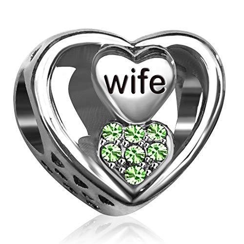 JMQJewelry Wife Heart Love Birthstone Charms for Bracelets Women Girl Men Jewelry Husband Gifts