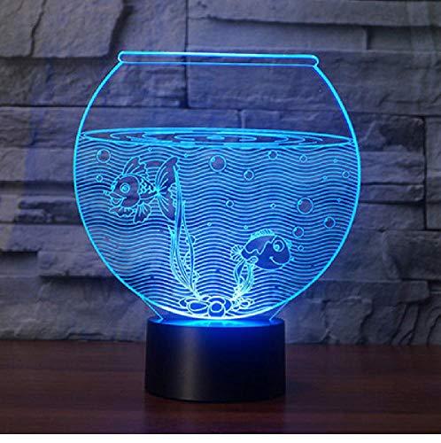Aquarium Form 3D Illusion Nachtlicht Flash Farbwechsel Led Tischlampe Shop Schlafzimmer Geschenk Dekor Lichter Fernbedienung