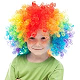 Skeleteen Colorful Clown Costume Wig - Multicolored Afro Clown Wig Costume Accessories for Kids and Adults