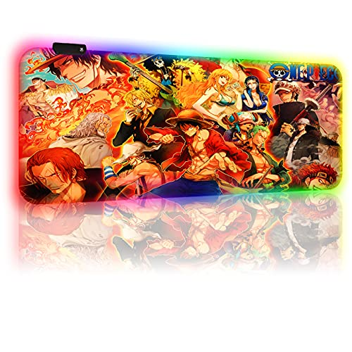 RGB Gaming Mouse Pads One Piece Anime Custom Large Extended Mouse Pad Non-Slip Rubber Base Mouse Mat, Computer Keyboard Mousepads Mat for Pc Laptop 40 X 90 Cm/35.5 X 15.8 Inches(4mm Thick)