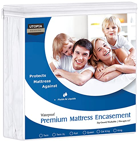 Utopia Bedding Premium 135 GSM Waterproof Mattress Encasement, 360° Protection, Zippered, Fits 15 Inches Deep, Easy Care (King)