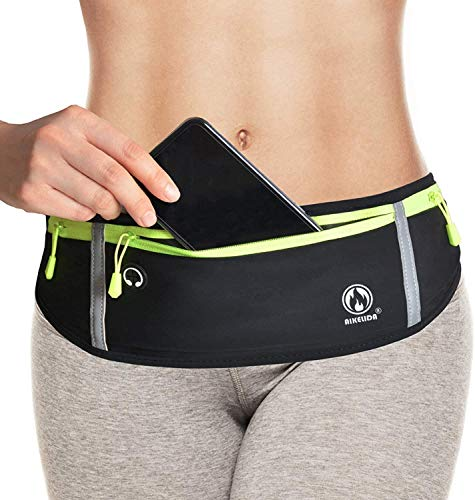 Running Belt for Men Women, Comfortable Fanny Pack Waist Pack Bag Belt Pouch for Fitness, Workout, Jogging - Phone Holder for Running Fits Apple iPhone 11 Pro XR XS Max 8 Samsung Galaxy S10 S9 - Black