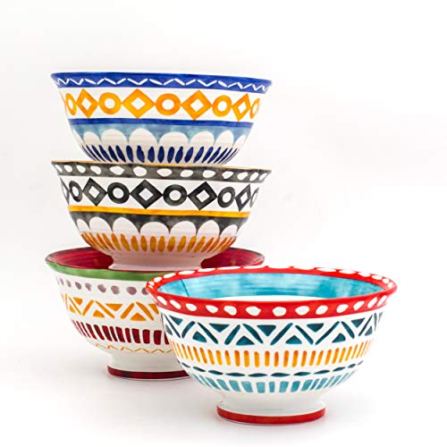 Euro Ceramica Amalfi Collection 6' Porcelain Cereal/Soup Bowls, Set of 4, Geometic Chinle Pattern, Multicolor