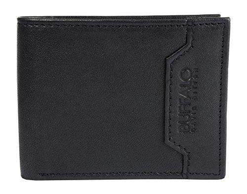 Buffalo David Bitton Men's Leather RFID Blocking Bifold 6 Pocket Wallet Black