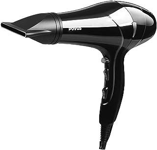 Secador de pelo profesional con motor CA de 2200 W con función de iones,2 velocidades y 3 configuraciones de temperatura,así como boquilla concentradora y difusor,secador de pelo profesional negro
