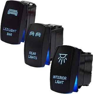 3Pcs LED Light Bar Rocker Switches Kit,LED Light Bar & Rear & Interior Light Blue Backlit Toggle ON/OFF 12V 20A 5Pin for UTV Polaris Ranger RZR XP Turbo Can Am Commander Maverick X3