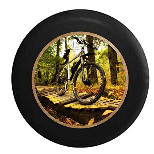 Tire Cover Mountain Bike On Log Wooden Bridge On The Trails Black Weatherproof Car Spare Wheel Cover Printing Wheel Protectors Durable 4 Sizes Spare Tire Cover Dust-Proof 15in/70~75cm