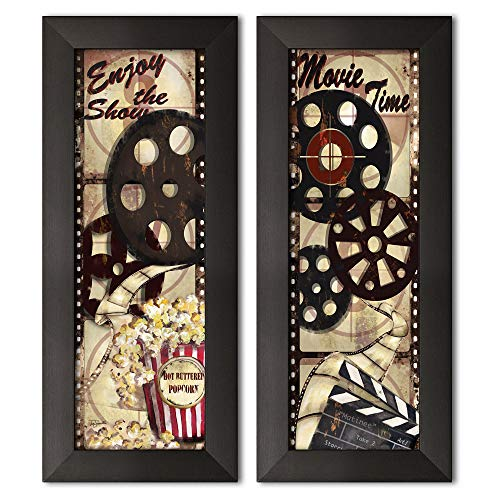 Movie Night! Classic Old-Fashioned Cinema 'Enjoy the Show' and 'Movie Time' Panel Set by Tre Sorelle Studios; Two black framed 6x18in Prints; Ready to hang!