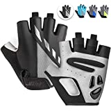 MAJCF Cycling Gloves Men Bicycle Gloves Half Finger 5MM Gel Pad Shock-Absorbing Mountain Bike Gloves, Anti- Slip Road Riding Gloves Breathable Sports Gloves Accessories for Men/Women (Black/Gray, M)