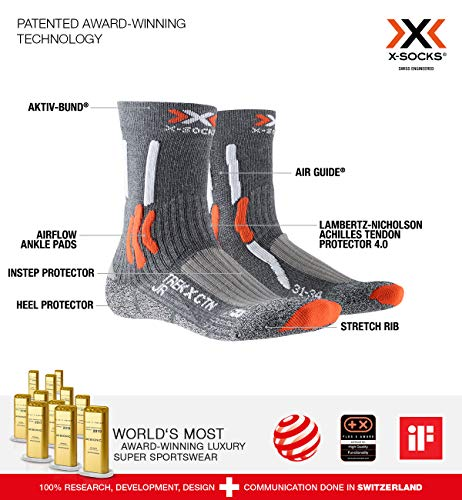X-SOCKS Trek X Cotton Junior Chaussettes Randonnée Mixte Enfant, Gris/Orange, FR : M (Taille Fabricant : 27-30)