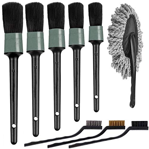 HMPLL 9pcs Auto Car Detailing Brush Set Car Interior Cleaning Kit Includes 5 Soft Detail Brushes,3 Wire Brush, 1 Car Dash Duster Brush for Cleaning Car Interior Exterior, Dashboard Engines Leather