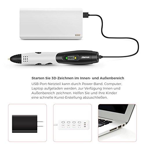 3D Stifte,Jiamus 3D Druck Stifte Set für Kinder mit LCD-Display kompatibel mit PLA ABS-Modus Optionen, Set mit 16 Farben 160 Fuß 1,75 mm Filament Minen und Erwachsene - 5