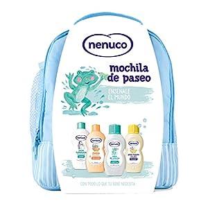Nenuco Pack Bebé Mochila de Paseo color azul, contiene colonia, jabón, champú y leche hidratante, 1 paquete con 4 productos x 200 ml