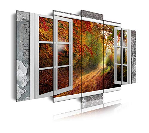 DekoArte 480 - Cuadros Modernos Impresión de Imagen Artística Digitalizada   Lienzo Decorativo para Tu Salón o Dormitorio   Estilo Paisajes Vistas Ventana Sendero Bosque en Otoño   5 Piezas 150x80cm
