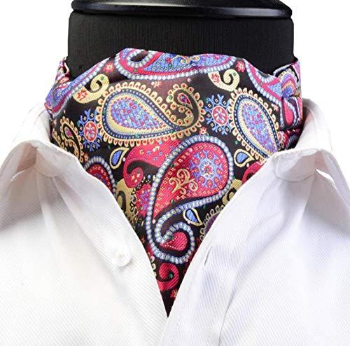 ZorYer Krawattenschal Herren Ascot Vintage Paisley Blumen Jacquard gewebte Seidenkrawatte Self Cravat Krawatte Scrunch-Stil Gentleman S286-B