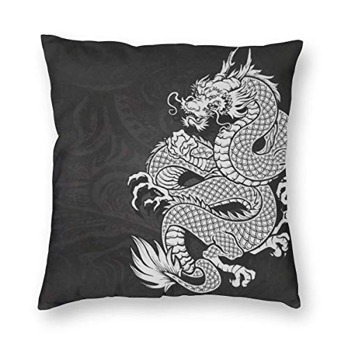 Meius - Funda de cojín con diseño de dragón chino, color blanco y negro, de terciopelo suave, decorativa, cuadrada, funda de almohada para salón, sofá o dormitorio con cremallera invisible de 20 x 20 pulgadas
