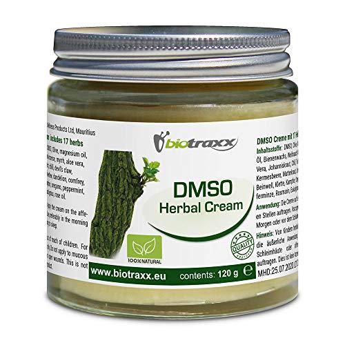 Biotraxx DMSO (Dimethylsulfoxide) Herbal Creme XL-Jar 120g - Crema altamente efectiva con alto contenido de DMSO y aceite de magnesio, así como 17 hierbas medicinales | Producido en Alemania
