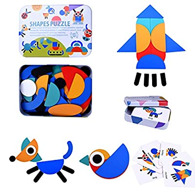Amazon - Save 50%: JIAHCN Wooden Pattern Blocks Games for Kids 3-8, Animals Jigsaw Shape Pu…
