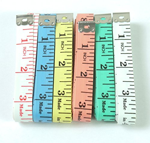 "ALL in ONE 60""/150cm Soft Sewing Flexible Ruler Tape Measure for Tailor DIY Craft 6 Colors Pack of 12 (Mixed Color-12pcs)"