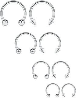 8PCS 16G Surgical Steel Nose Septum Horseshoe Hoop Earring Eyebrow Tragus Lip Piercing Ring Balls & Spikes 6-12mm