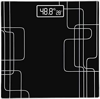LKNJLL Báscula, Cuerpo de precisión Digital báscula de baño con los Paso-On Technology, 6 mm de Vidrio Templado de Lectura fácil Pantalla LCD retroiluminada, 400 Libras