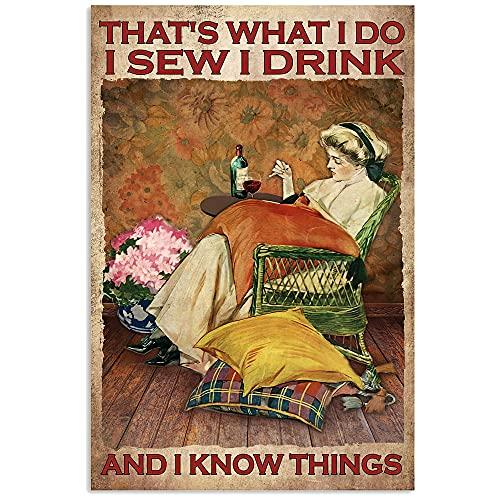 TNND I Sew I Drink Sew Wine Lovers Sewer Regalo Cucito Camera da Cucito Regalo Per Fognatura Divertente Regalo In Metallo Segno Decorazione Bagno Vintage Murale 20 X30 cm
