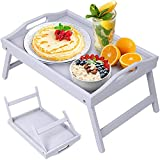 Bed Tray Table Folding Legs with Handles Breakfast Food Tray for Sofa,Bed,Eating,Drawing,Platters Serving Lap Desk Snack Tray(Grey Small)