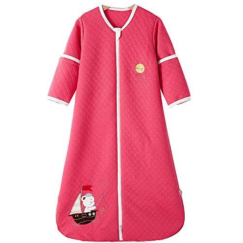 Schlafsack baby Ganzjahres Baumwolle Junge Mädchen mit Innenfutter Neugeborener Schlafanzug. - Boot (110CM/18-36monate, Rose Red)